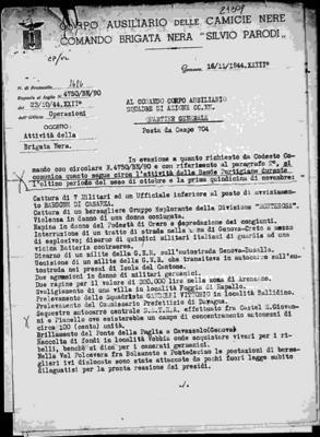 31ª brigata nera S. Parodi di Genova: attività