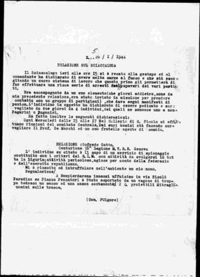 31ª brigata nera S. Parodi di Genova: controllo movimento partigiano