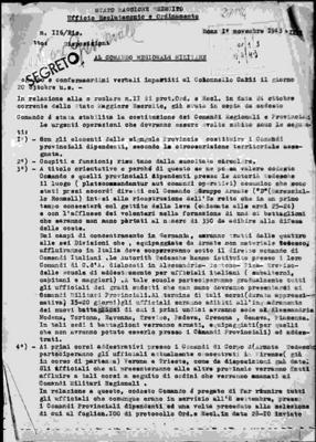 205° Comando militare regionale lombardo, Quartier generale: corrispondenza riservata-personale e protocollo della corrispondenza