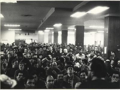 Assemblea di operai all'interno di un salone - 1970-1980